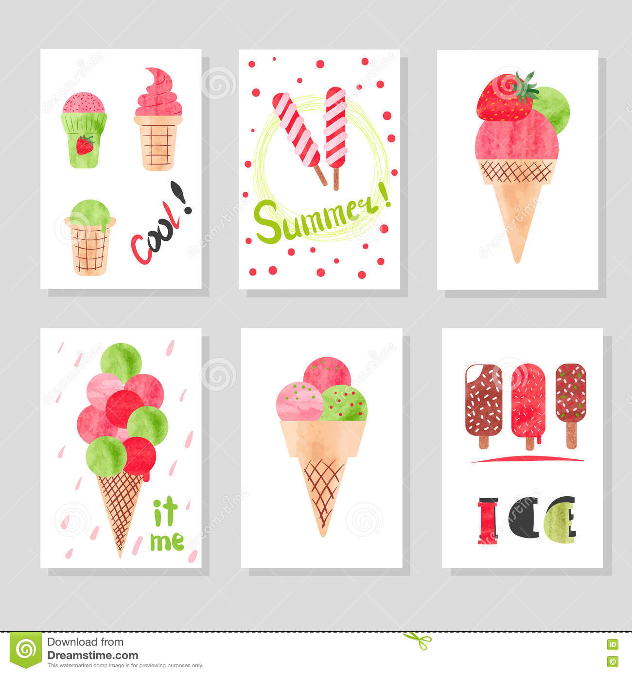 Set Of Cute Card Templates With Watercolor Ice Cream For Design.