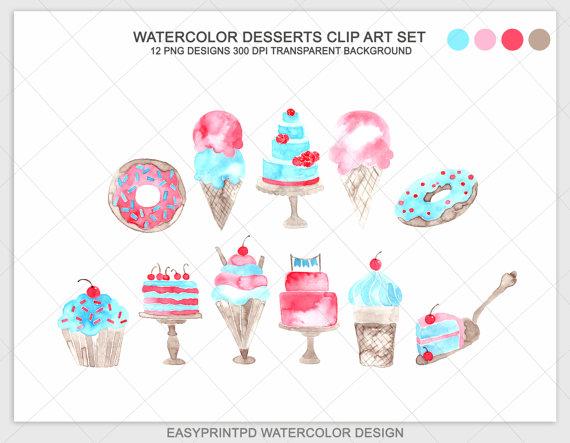 Watercolor Dessert Clip Art Ice Cream Clip Art Cupcakes Clip.