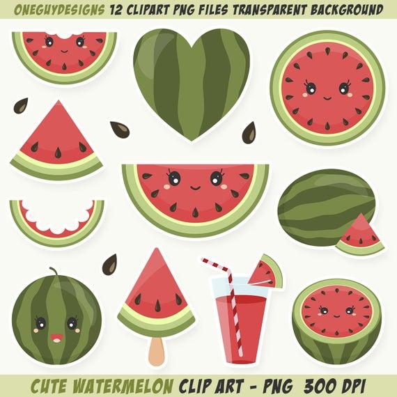 Cute Watermelon Clipart. Watermelon clip art. Instant download PNG file 300  DPI..