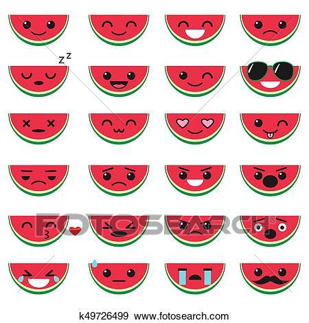 Cute watermelon emoji set Clip Art.