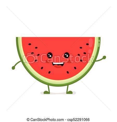 Happy cute smiling funny watermelon..