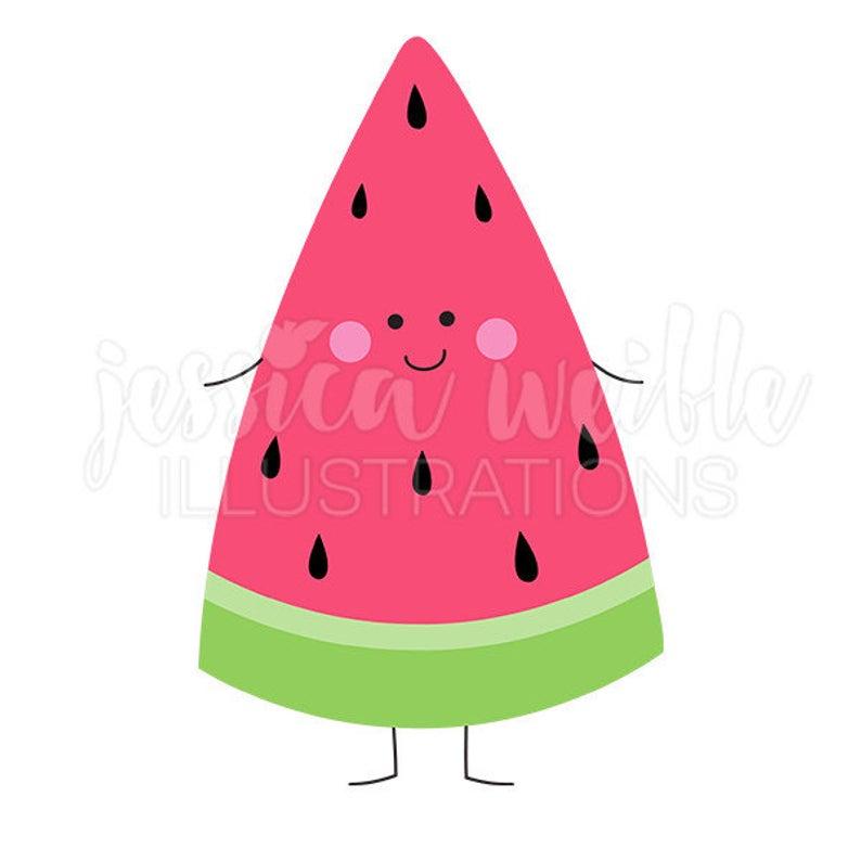 Happy Watermelon Cute Digital Clipart, Watermelon Clip art, Watermelon  Character Graphic, Smiling Watermelon Illustration, #1634.