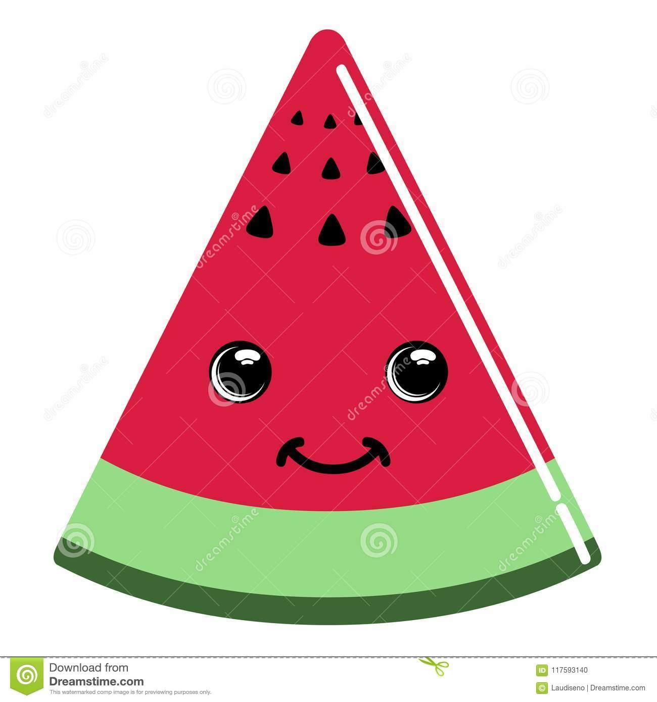 Cute watermelon emoticon stock vector. Illustration of icon.