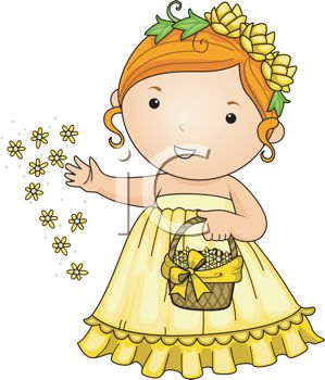 Royalty Free Clipart Image: Cute Cartoon Flower Girl at a Wedding.