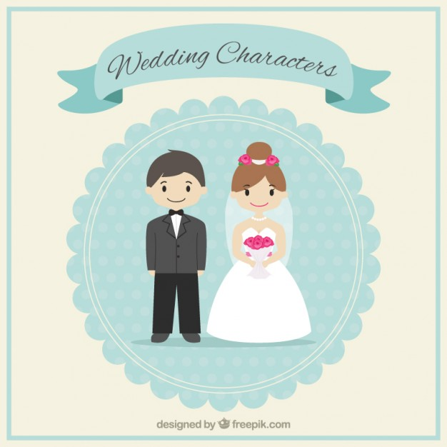 Cute wedding characters Vector.
