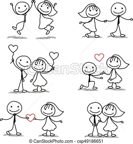 six cute and fun stick figure wedding collection.