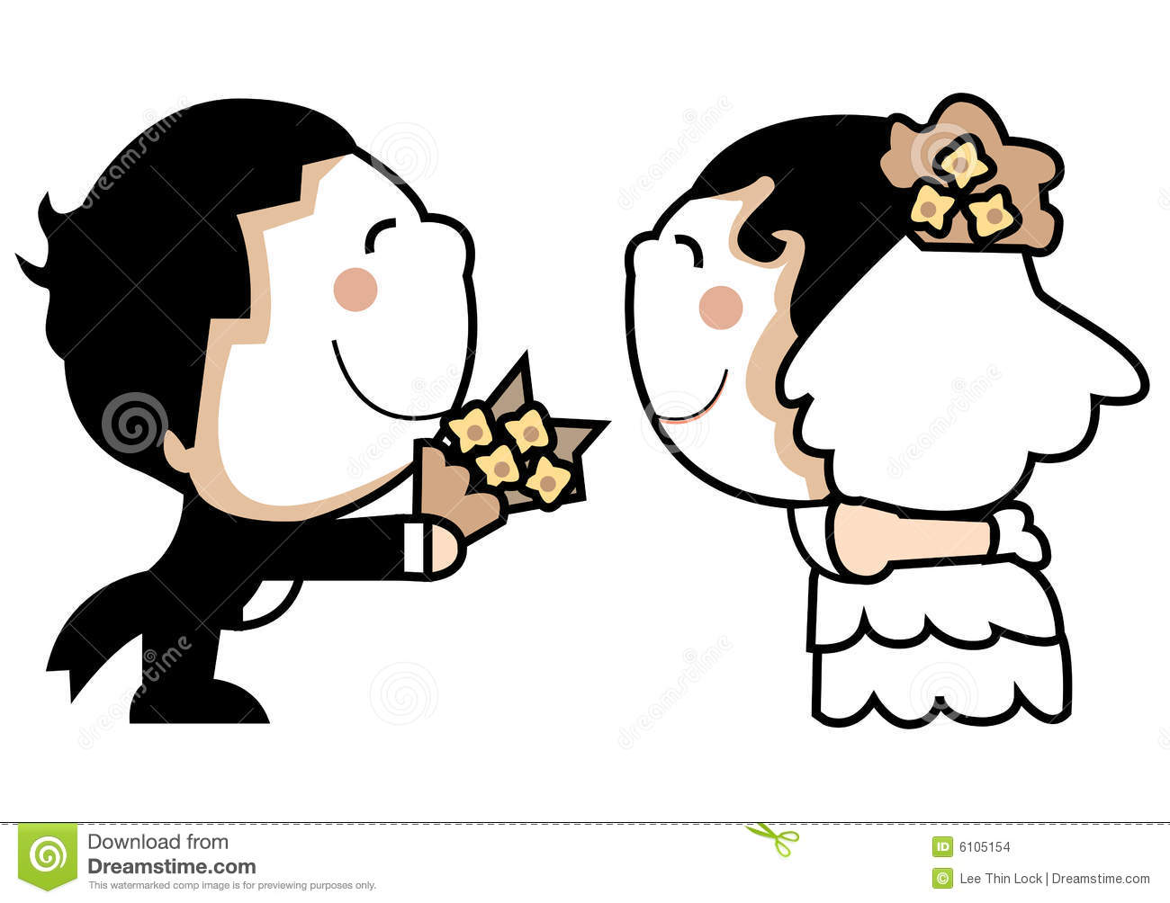 Cute wedding couple stock vector. Illustration of smile.