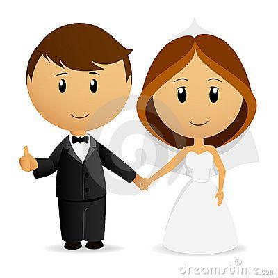 Free Stock Photography Cute Cartoon Wedding Couple Image 19542167.