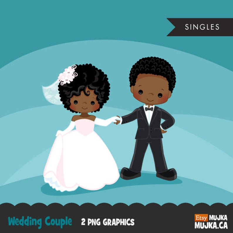 Wedding couple clipart, bride and groom graphics, valentines day couple,  cute characters, scrapbooking, card making, african american, afro.
