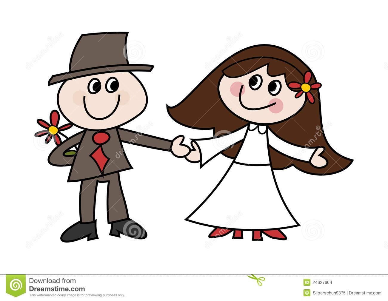 Cute Cartoon Wedding Couple Stock Vector.