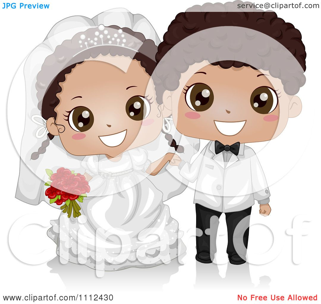 Clipart Happy Cute Black Kid Wedding Couple.