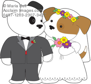 Cute Puppy Marriage Wedding Clipart Image.