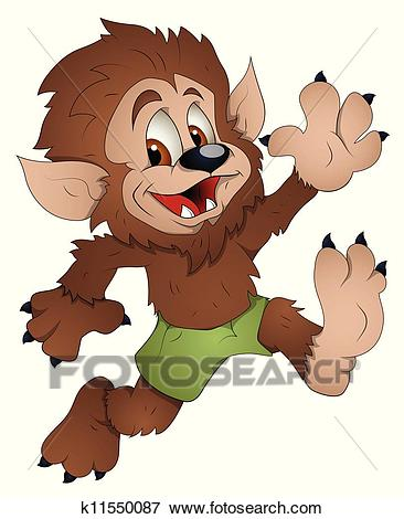 Cute Werewolf Cartoon Character Clip Art.