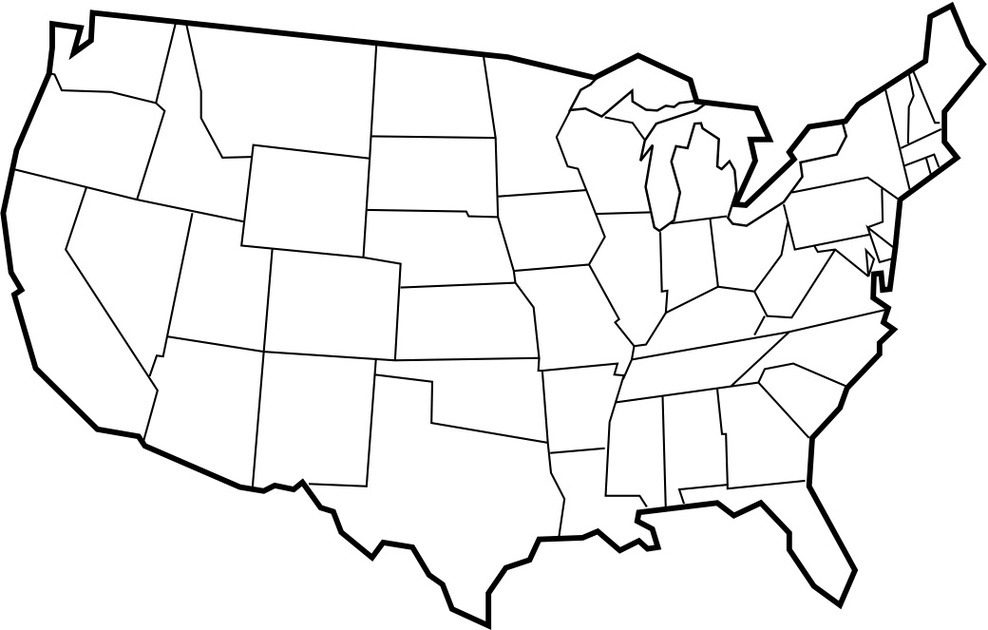 Free United States Map Black And White Printable, Download.