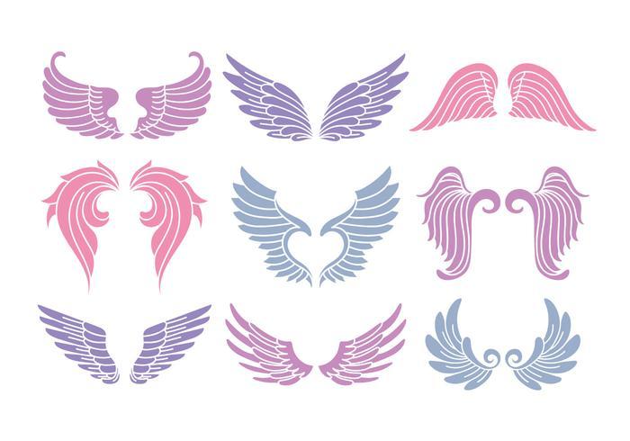 Set Of Cute Angel Wings.