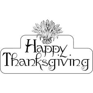 Cute Winnie The Pooh Black And White Thanksgiving Clipart.