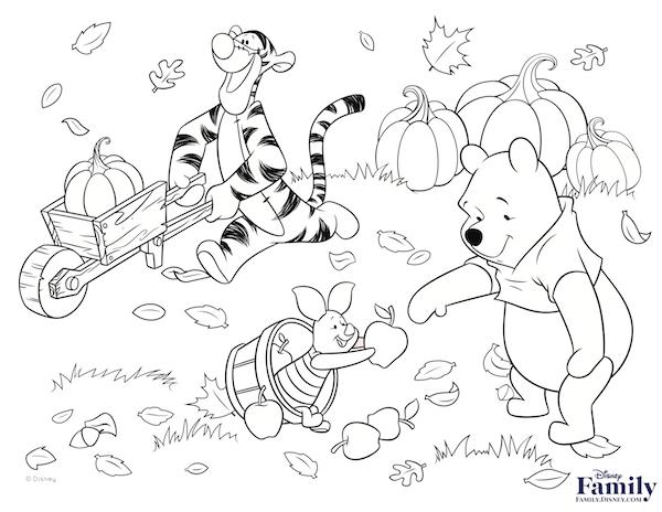 Cute Winnie The Pooh Black And White Thanksgiving Clipart.