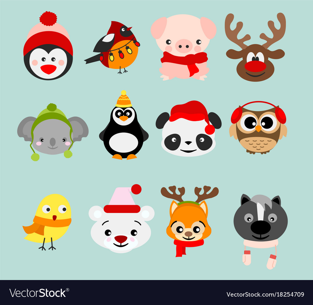 Set of winter cute animals in.