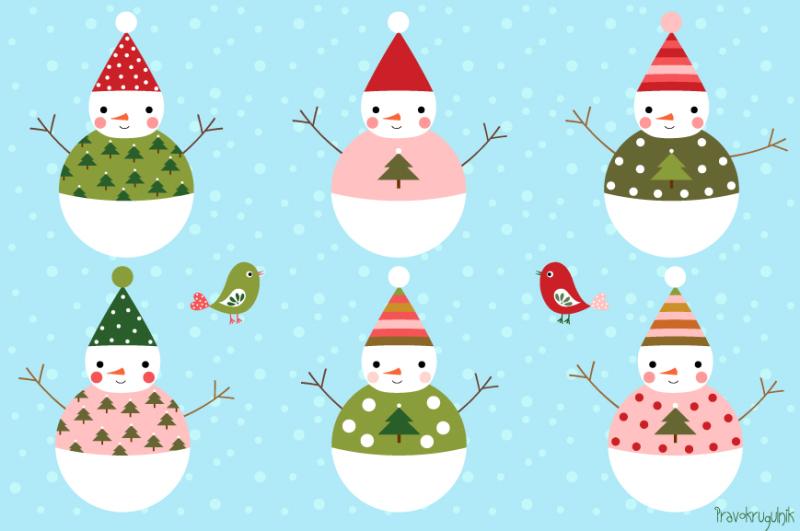 Cute snowman clip art, Winter clipart, Digital Christmas snowmen By.