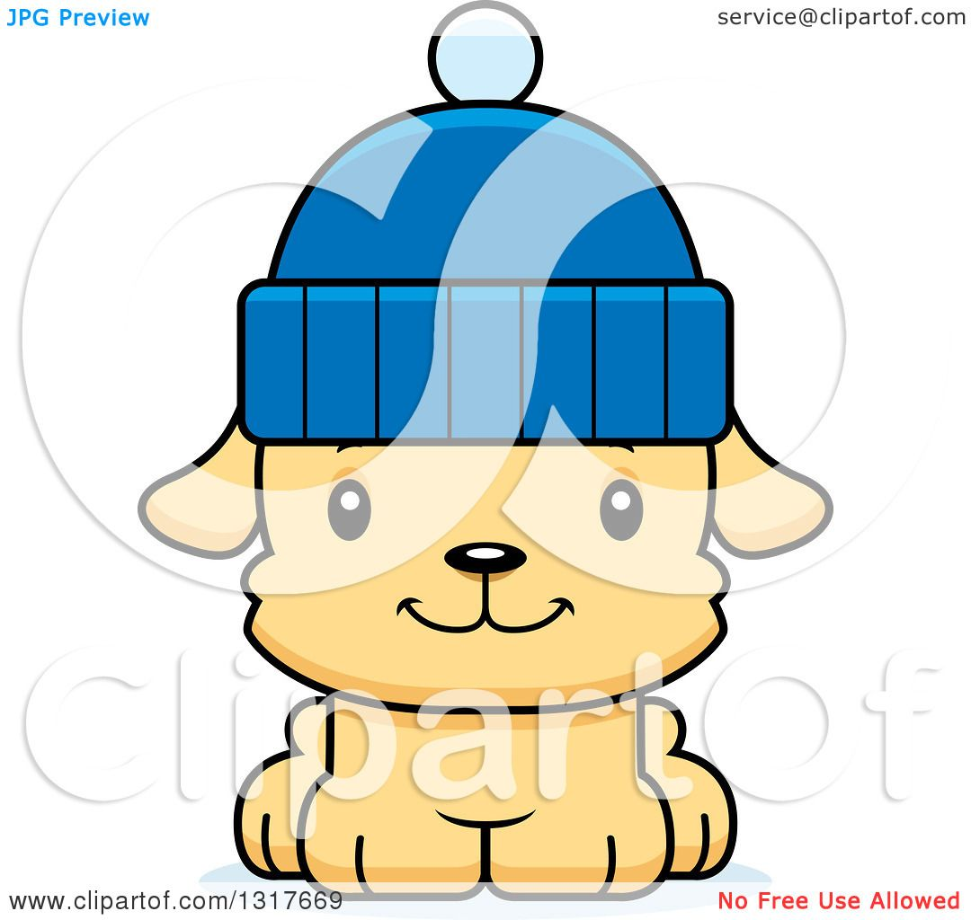 Animal Clipart of a Cartoon Cute Happy Puppy Dog Wearing a Winter.