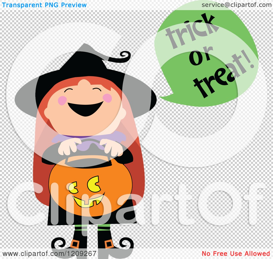 Cartoon of a Cute Halloween Witch Shouting Trick or Treat and.