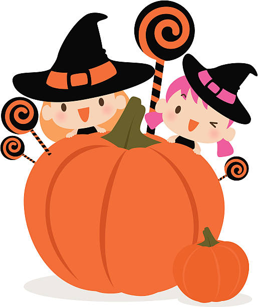 Witch And Two Kids Clip Art, Vector Images & Illustrations.