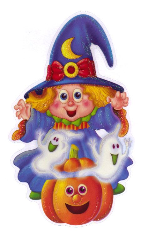 HALLOWEEN, CUTE WITCH, GHOST AND PUMPKINS, CLIP ART.