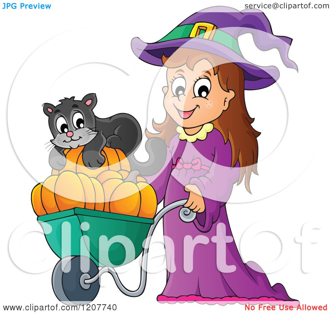 Cartoon of a Cute Halloween Witch Girl Pushing a Black Cat and.