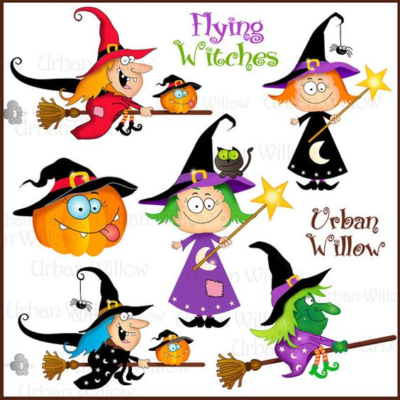 Witches and Warlock. Cute Digital Clipart.