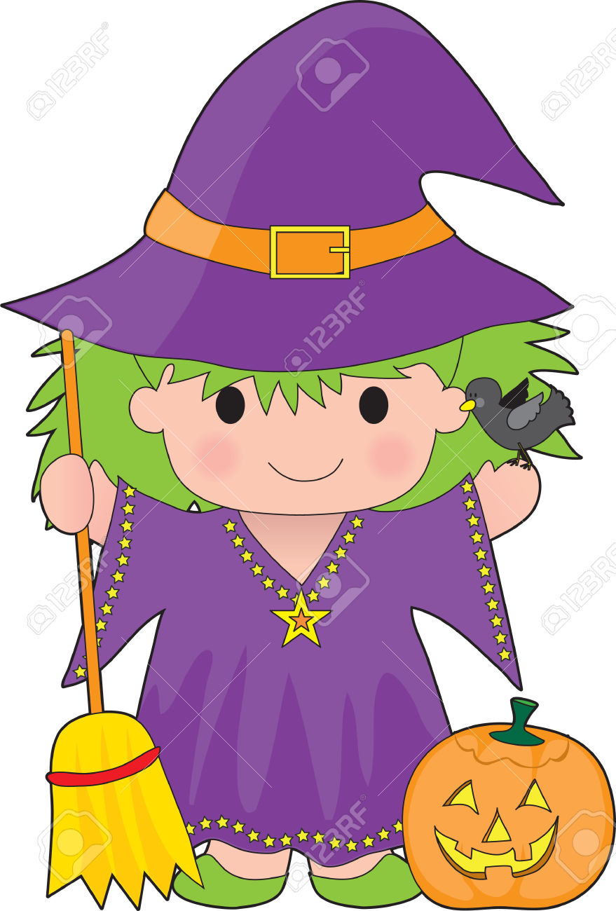 A Cute Little Witch With A Broom And Pumpkin Royalty Free Cliparts.