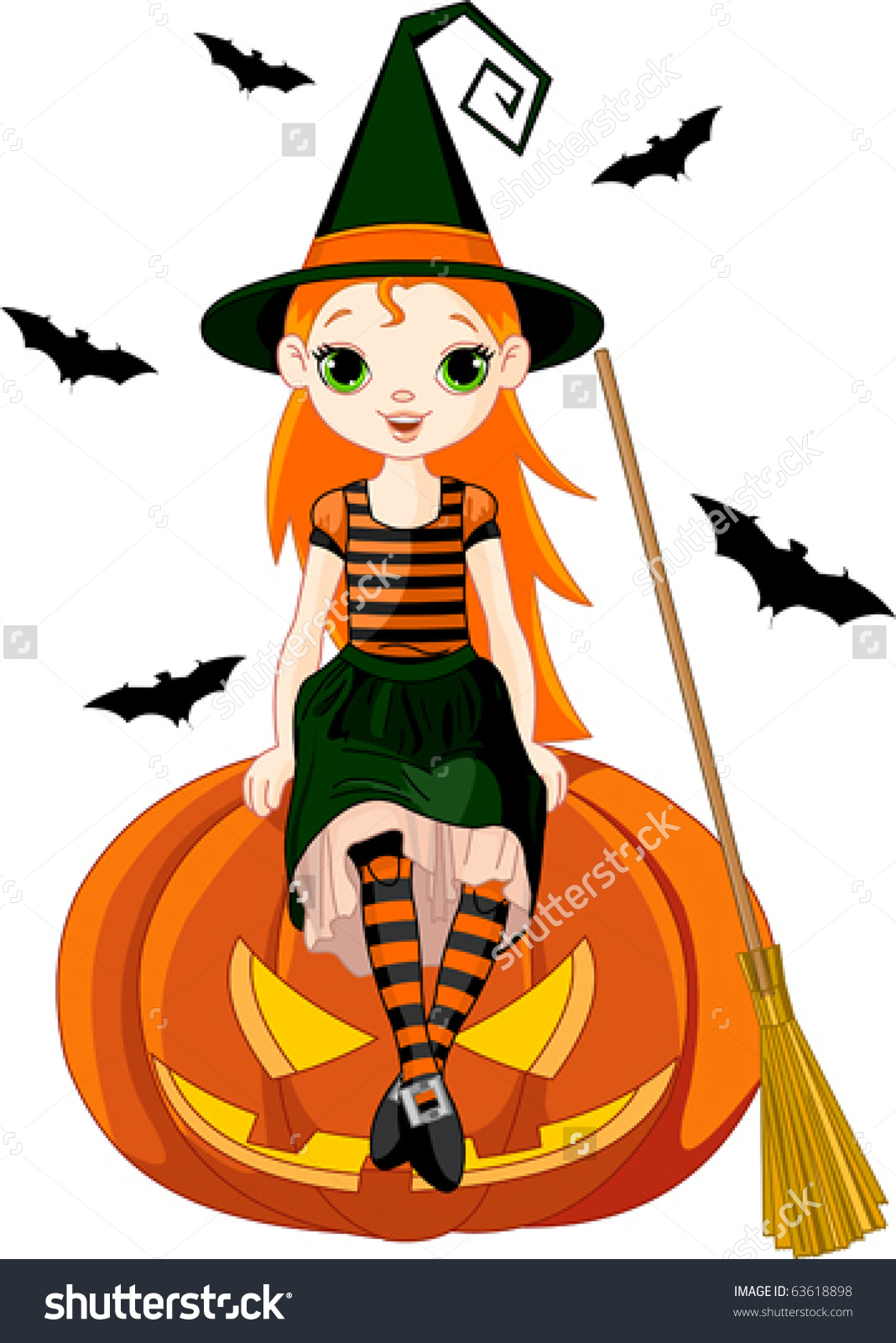 Illustration For Halloween With A Cute Witch Sitting On On Pumpkin.