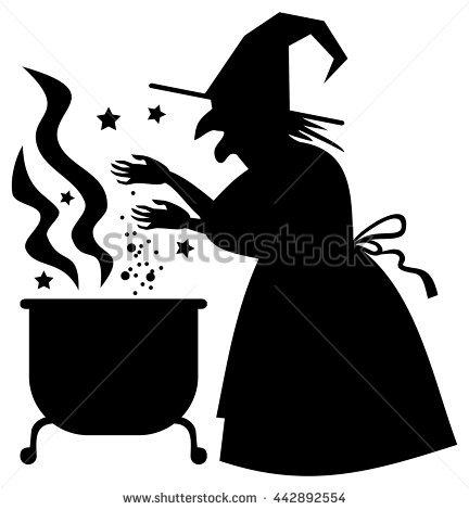 Silhouette Witch Preparing Potion Magic Cauldron Stock Vector.