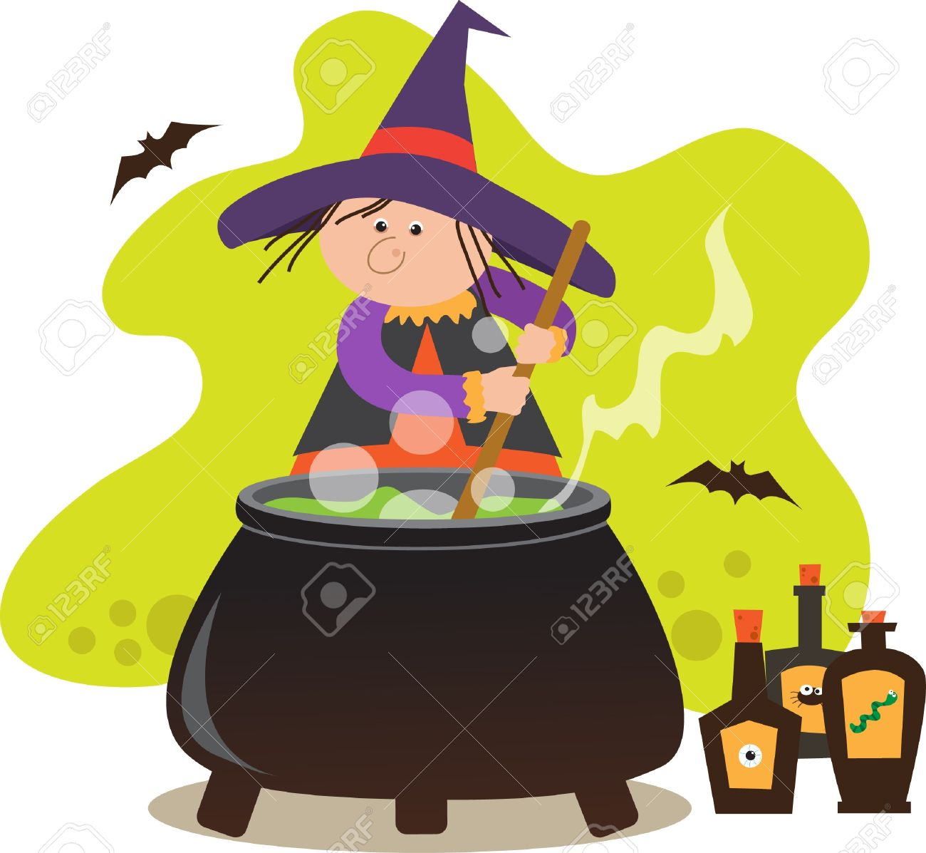 Cute Witch With Pot.