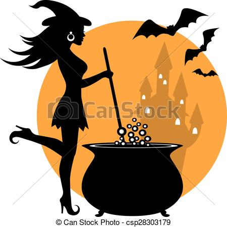 Vectors Illustration of beautiful witch and cauldron.