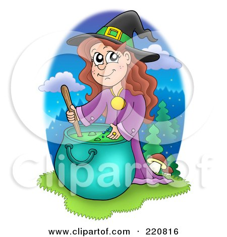 Clipart Of A Sketched Black And White Boiling Witch Cauldron.