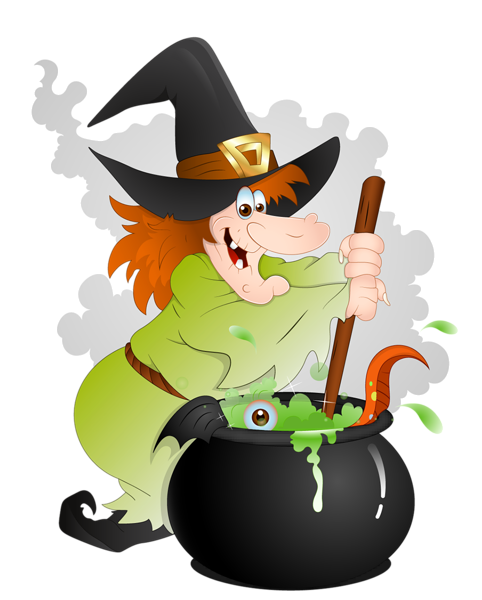 Halloween Witch with Cauldron PNG Clipart.