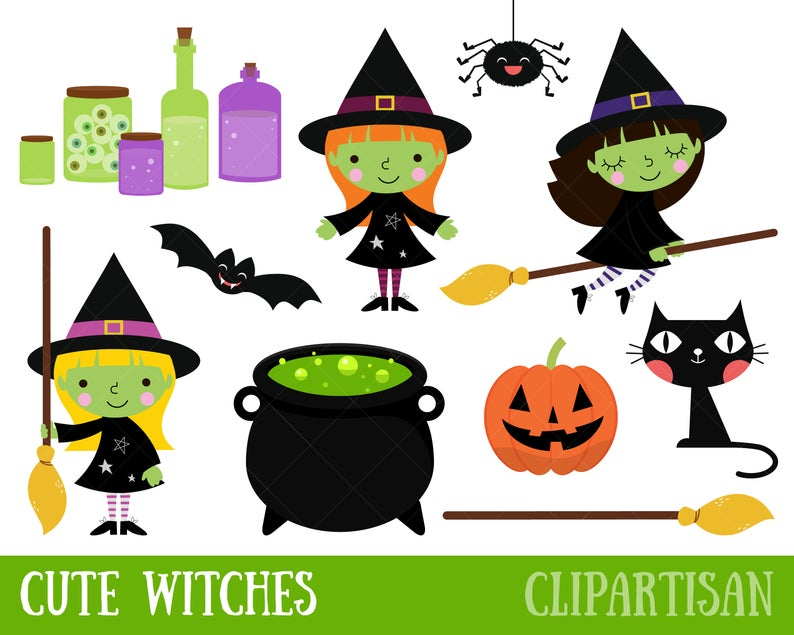 Cute Witch Clipart / Halloween Witches.