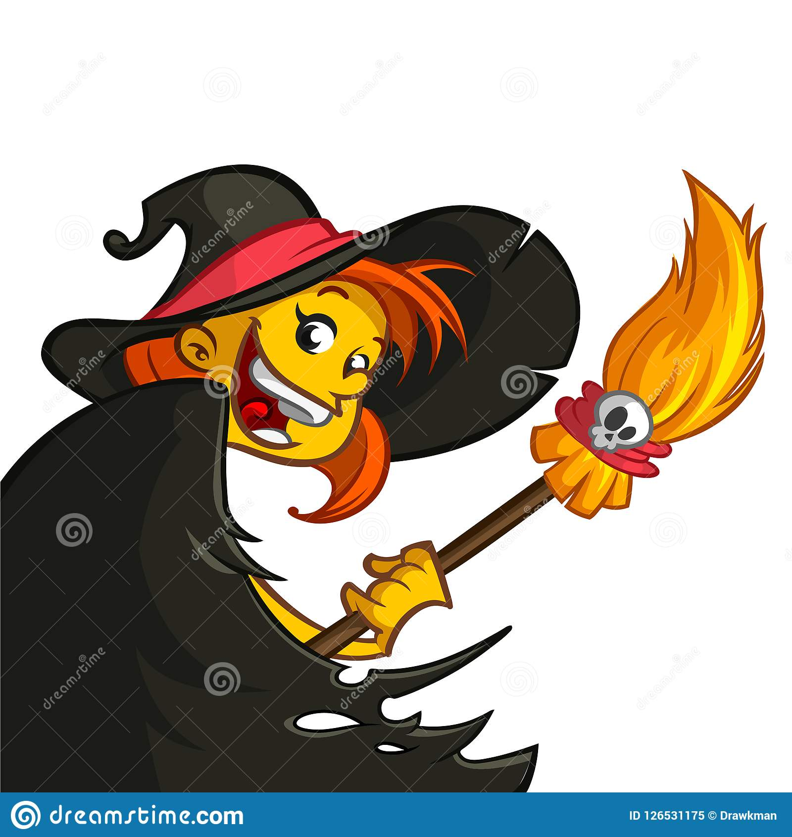 Cartoon Cute Witch With Broom. Halloween Clipart. Stock Vector.