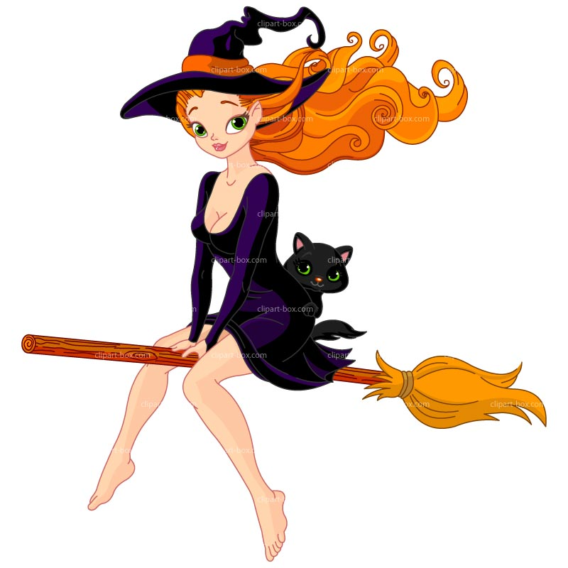 CLIPART SEXY WITCH ON BROOM.