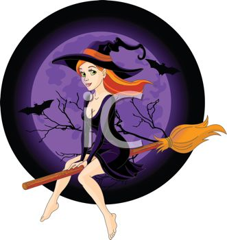 Sexy Halloween Witch Riding Her Broomstick.