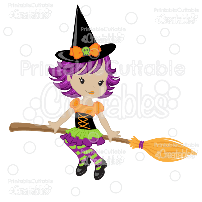 Cute Witch on Broom SVG Cutting File & Clipart.