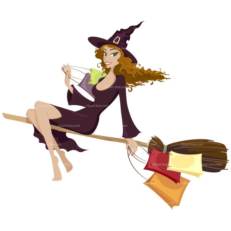 CLIPART CUTE WITCH MAKE SHOPPING.