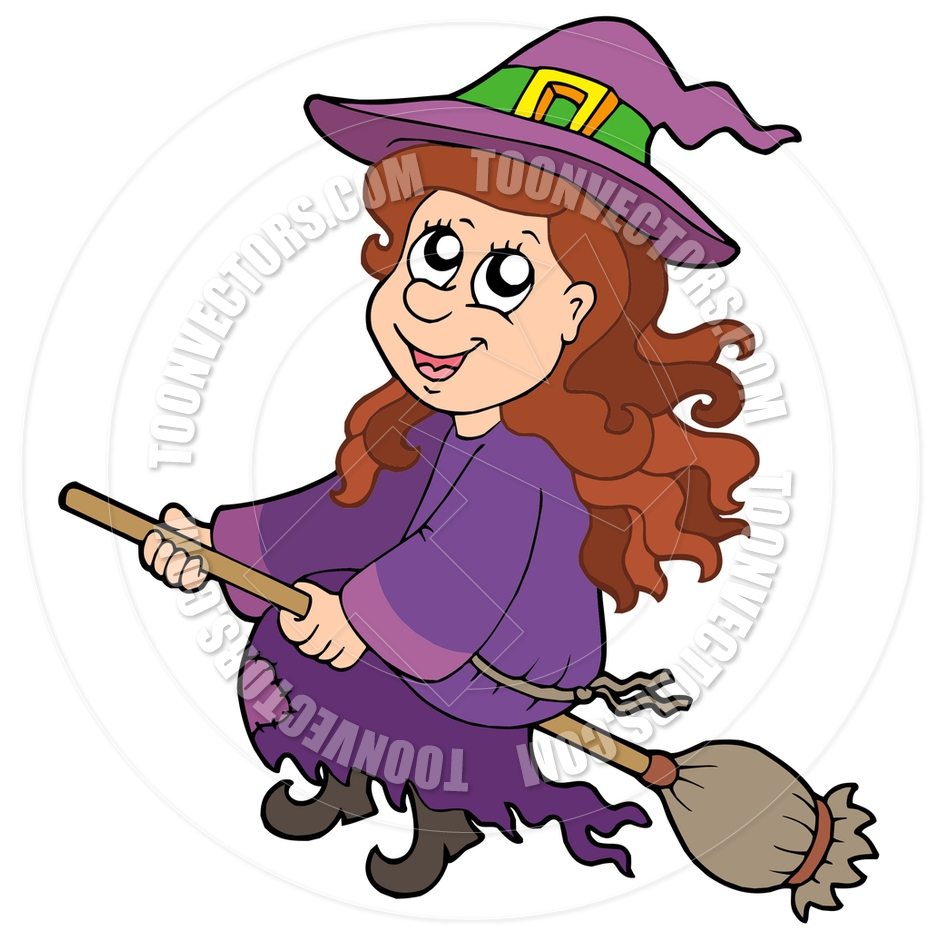 Cartoon Cute Witch Flying on Broom by clairev.
