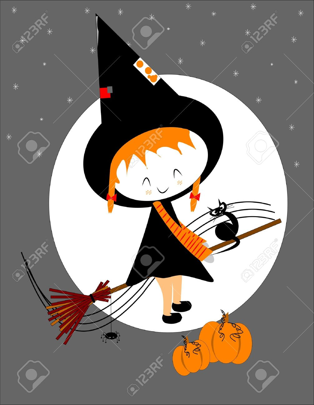 Lil Witch On Broom Stick Royalty Free Cliparts, Vectors, And Stock.