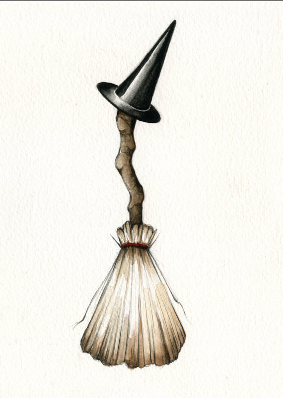 Cute witch broom illustration print by AmandaLaMarco on Etsy.