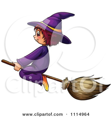 cute witch on broom clipart #3