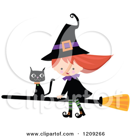 Cute Witch Cartoon Clipart.