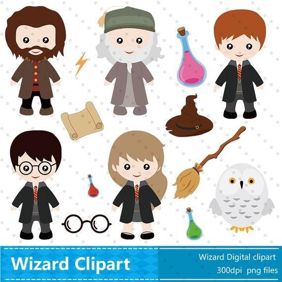 Wizard Clipart, Wizard Clip Art Instant Download,Cute Wizard.