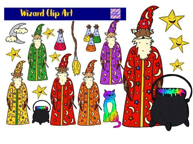 Cute Wizard Clipart.