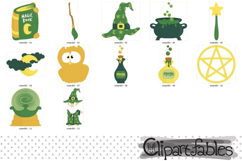 WIZARD clipart, Cute magic clip art set, Magic party decor.